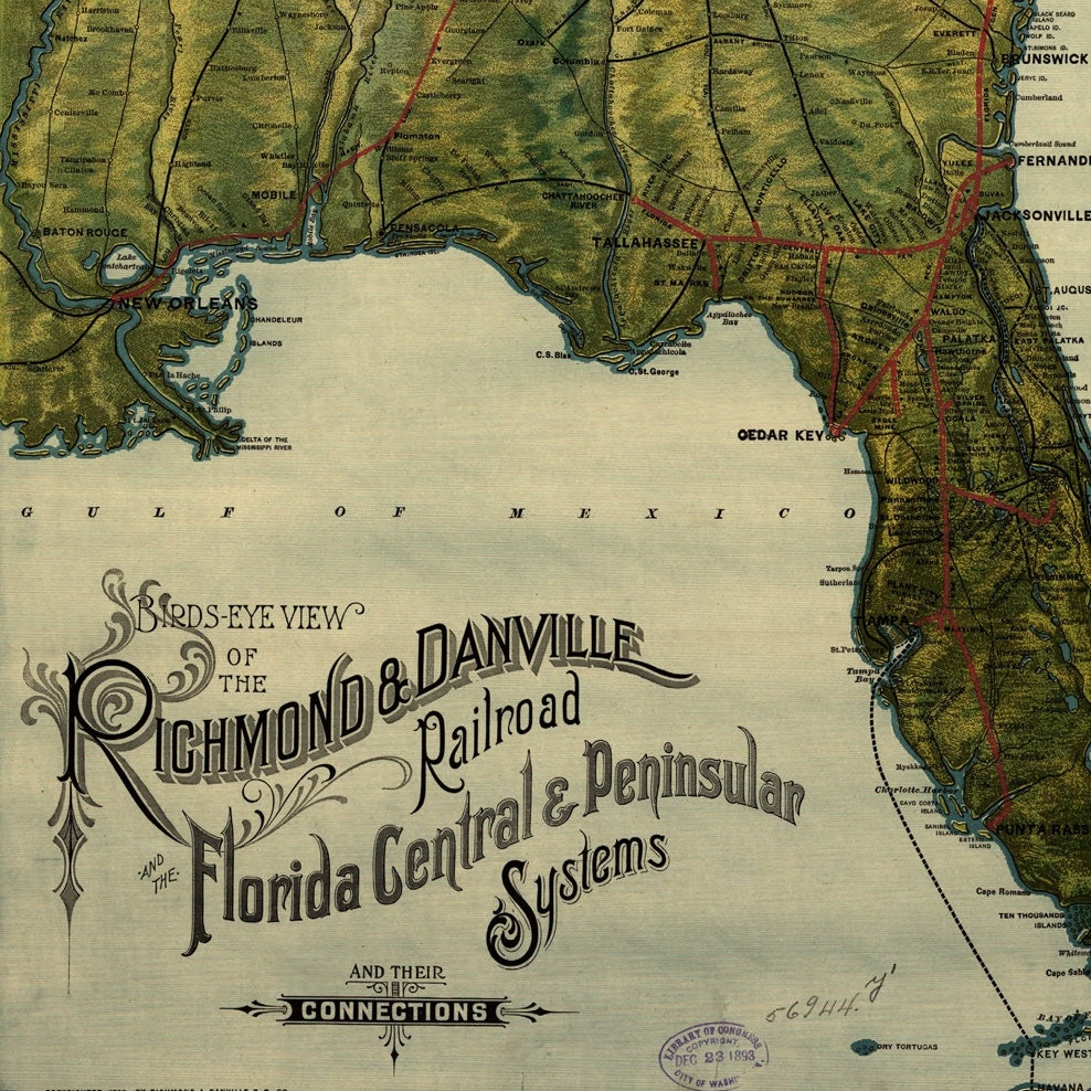 Richmond And Danville Railroad Map Of Florida Old Maps And - Florida east coast map