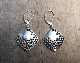 Sale Silver Diamond earrings. Freeform. Geometrical earrings. Handmade earrings. Modern jewelry. silver dangles. rustic earrings.
