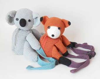 Crochet pattern for koala and fox backpacks. Cute and practical accessory for kids. Written instructions, step by step photo tutorials.