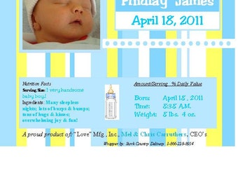 """Personalized Candy Bar Wrapper - """"Baby Photo"""" - Baby Announcement"""
