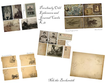 Peculiarly Odd Ephemera and Journal Card Kit - Perfect for journals, cards, mixed media, scrapbooking (5 digital pages)