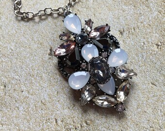 Black and Rhinestone Necklace, Beaded  Necklace, Gift For Her, Statement Necklace, Trending Item