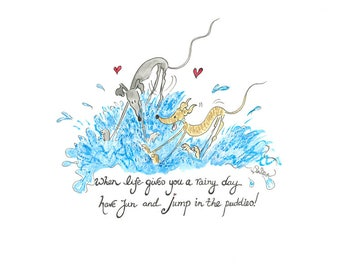Jump in the puddles  - Available as A4 print or A5/A6 card