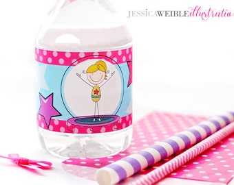Gymnastic Stick Figure Theme Printable Water Bottle Wrappers, Gymnast Bottle Labels, Instant Download, Gymnastics Party Printable Wrapper