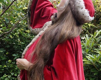Victorian Inspired Pillarbox Red Velvet Cape With Fur Trim
