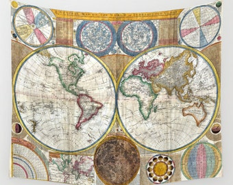 Old World Map Wall Tapestry, Vintage Map Large Size Wall Art, Modern, Dorm,Office Decor, Ancient Map,, Zodiac Tapestry, Vintage Map Tapestry