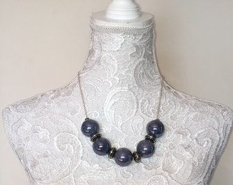 ceramic ball blue necklace silver