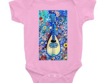 Mandolin Floral Onesie -Pink, Black
