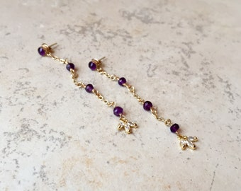 amethyst and gold filled duster earrings