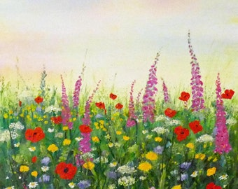 Meadow flowers by Jan Taylor. Original acrylic painting, 12 inches x 12 inches