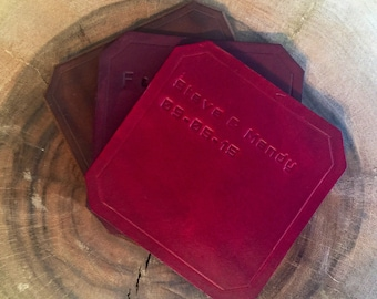 Personalized Leather Coasters - Set of 4, Wedding Gift, Hand Made