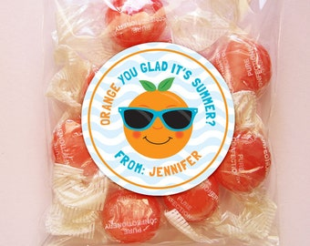 Personalized Last Day of School Tags or Stickers – 2, 2.5 or 3 Inch Circle – DIY Printable – Orange You Glad (Digital File)
