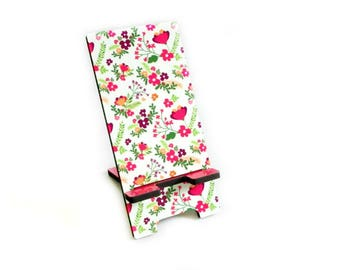 Smart Phone Stand Charging Station - Modern Pink Floral Cell Phone Holder - Desk Accessory - Cottage Chic Decor - Smartphone Stand