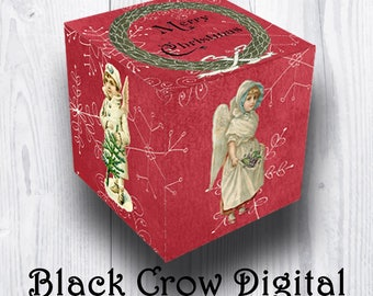 """Printable Christmas Gift Box; Vintage Images of Victorian Children; Holiday Box; Party Favor Box; 2 1/2"""" Square; JPG; DIY;  Instant Download"""