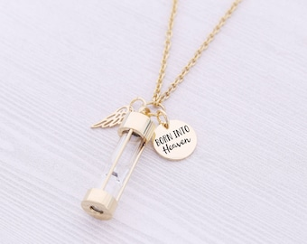 Gold Stainless Memorial Hourglass Pendant - Cremation Jewelry - Urn Necklace - Pet Memorial - Ash Necklace