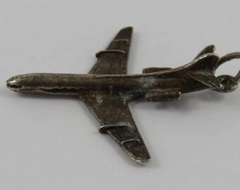 Jet Sterling Silver Vintage Charm For Bracelet