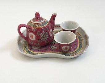 Pink Floral Mun Shou Miniature Chinese Tea Set Famille Rose Vintage Tea set Tray Teapot Teacups 4 pieces Made in China