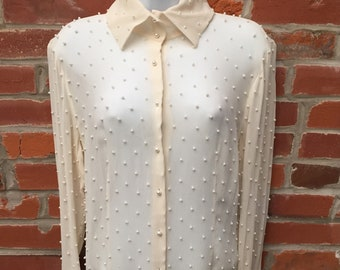 Vintage 90s Sheer Silk Pearl Studded Button Down Shirt Womens