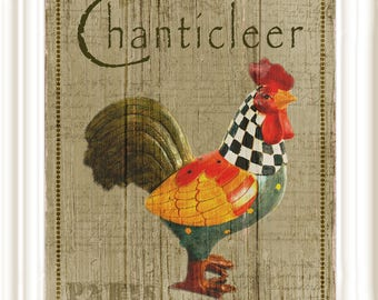 French CHANTICLEER  (Rooster)  Poster, diy PRINTABLE in 3 sizes, 8x10, 11x14, 16x20, Instant download