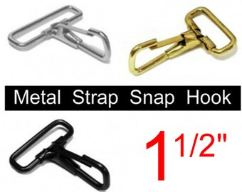 """10 PIECES - 1 1/2"""" - Fixed Loop Strap Spring Snap HOOK, Purse Clip, for 1.5 inch wide webbing - You choose finish"""