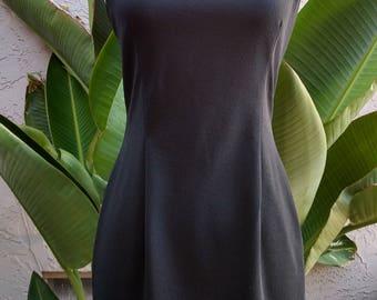 1990's black dress, white trim, sleeveless, halter back, above knee, classy