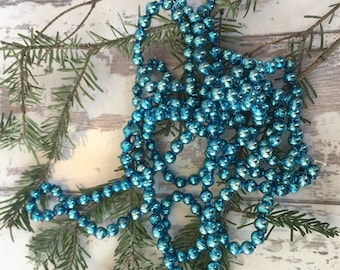 Vintage Aqua Mercury Glass Bead Christmas Garland - 9 feet