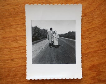 Small Vintage Photograph Old Couple Standing on Road