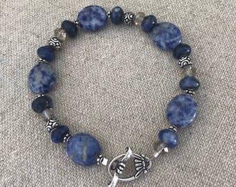 Sodalite, swarovski and sterling bracelet Blue crystal accents toggle clasp oval