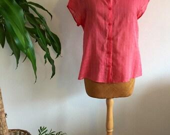 Ladies/vintage/top/blouse/short sleeve/boho chic/folk/pink/size small