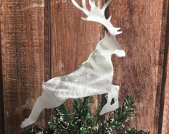 Reindeer Handcrafted Metal Tree Topper, Holiday Decoration, Wreath Decoration, Christmas, Aluminum, Rustic