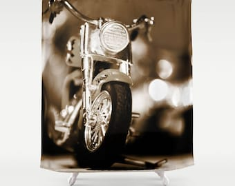 Brown Shower Curtain, Motorbike Man Cave Decor, Manly Gift, Motorcycle Gifts, Manly Decor, Brown Bath Curtain, Dark Brown Bathroom Decor