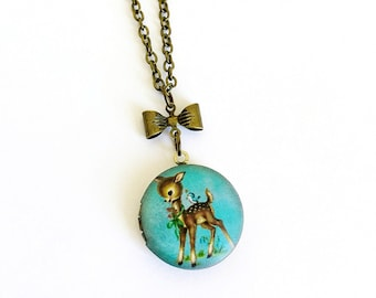Vintage Style Kitsch Deer, Fawn Cameo Locket Necklace