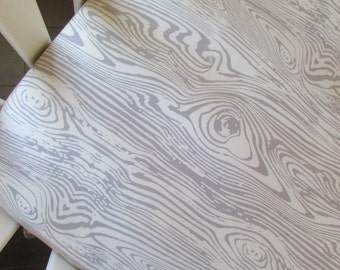 Gray wood grain fitted crib sheet/ changing pad cover