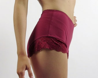 on sale - ready to ship - ivory - size small - womens high rise panties with lace trim