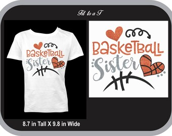 Glitter Basketball Sister T-Shirt, Basketball Sister T-Shirt, Basketball Fan Wear, Spiritwear, Basketball Sister Gift
