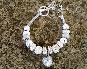 European / Pandora style Crystals & Heart Ultimate Bling Bracelet.