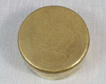1920's Round Metal Solid Brass Trinket Box with Etched Art Nouveau Flower Design and Green Velvet Lining