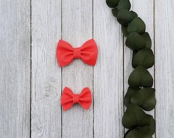 Leather bow, Coral bow, baby bow, baby headband, toddler headband