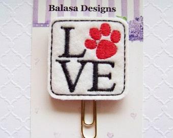 Love Pets Planner Clip, Bookmark, Planner Accessory, Paper Clip