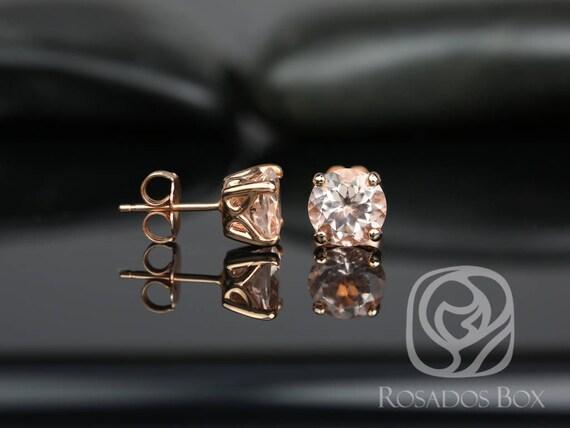 Rosados Box Donna 7mm 14kt Rose Gold Round Morganite Leaf Gallery Basket Stud Earrings