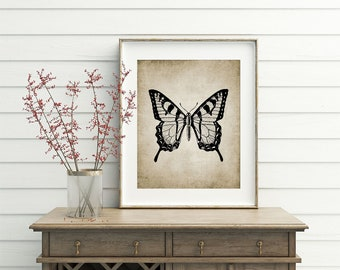 Butterfly Wall Art Print, Rustic House Decor, Antique Butterfly Illustration, Vintage Printable Art - Single Print #17 INSTANT DOWNLOAD