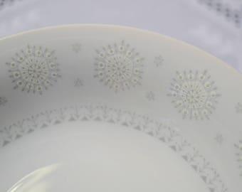 Vintage Harmony House Snowflake Soup Bowl Coupe Set of 6 White Gray Mid Century Atomic 3503 Replacement Japan Panchosporch