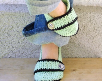 Mint and black slippers, womens crochet slippers, booties, shoes, socks, crochet slippers, womens slippers, button strap slippers