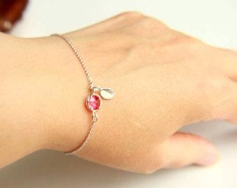 Leaf bracelet,christmas deer, fuchsia faceted crystal, rhodium plated chain, framed stone, framed crystal, minimalist bracelet
