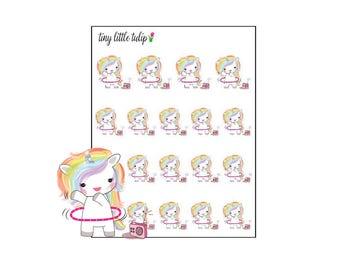 Planner Stickers Rainbow Unicorn Hoola Hoop