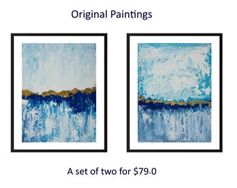 Blue painting Diptych art turquoise gold blue original abstract landscape painting on paper wall art wall decor home decor by qiqigallery