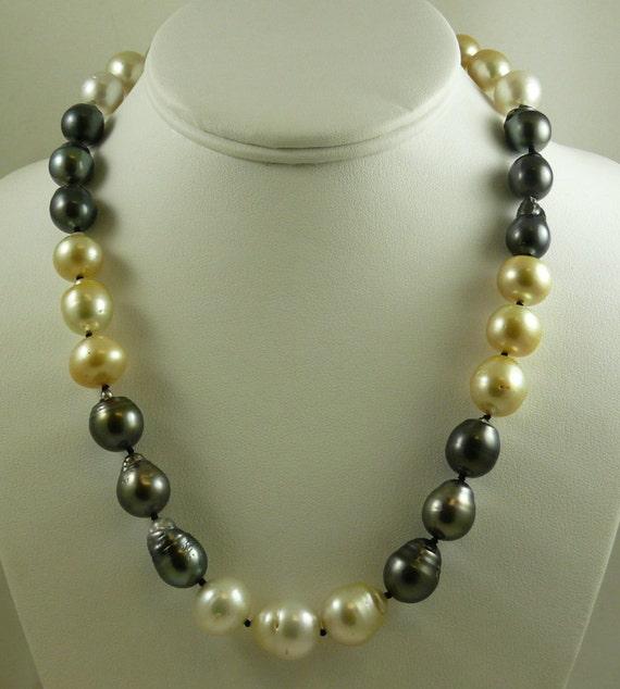 South Sea Multi-Color Baroque Pearl Necklace 14mm x 15.9mm 14K White Clasp