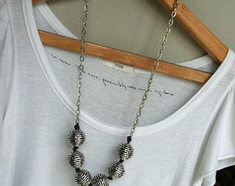 Chunky Silver Ball Necklace