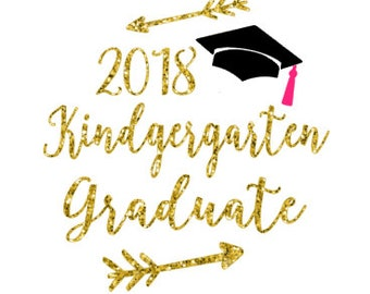 Free Shipping  ***  DIY Iron On Kindergarten Graduate  *** Children's Clothing  *** Class of 2018  *** Graduation ***