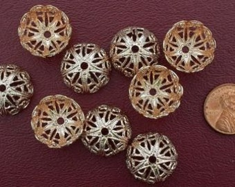 ten 18mm  copper - gold color  bead caps